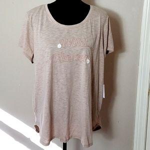 """Lauren Conrad """"Wild Flower"""" Beige T-shirt Sz XXL"""